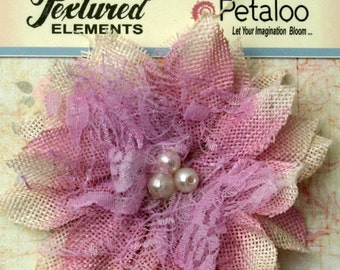 "Lavender Burlap Birds Nest Lace Flower 3.75"" 1206-207 rustic wedding vintage decor headband flowers scrapbooking lace flax fabric flower"