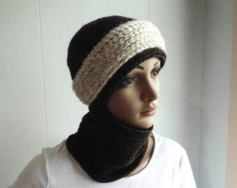 Crochet PATTERN - Snowbound Winter Scarf Hat  - (sizes Toddler - Adult)