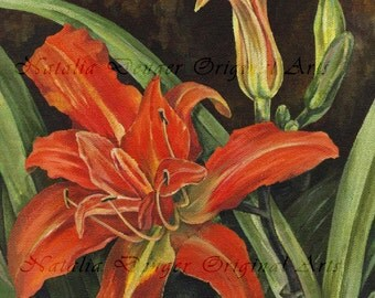 """My Garden Lily, ORIGINAL 8x10"""" Painting, Orange Lilies, Orange, Green, Brown, Garden, Birthday Gift for Her, Special Gift, Mothers Day Gift"""