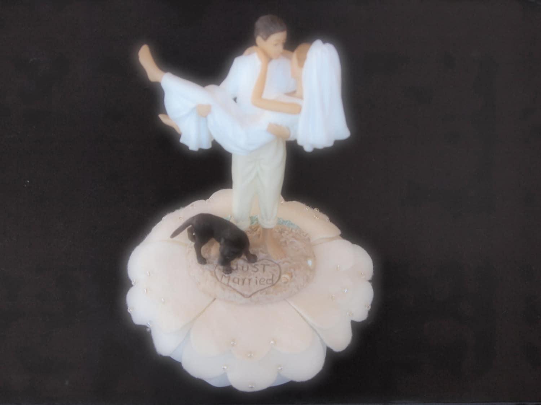 Cake Topper Wedding Bride and Groom Ivory by ArtisanFeltStudio