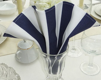 Dinner Napkins - Set of 4 - Striped Navy & White Fabric Dinner Napkins