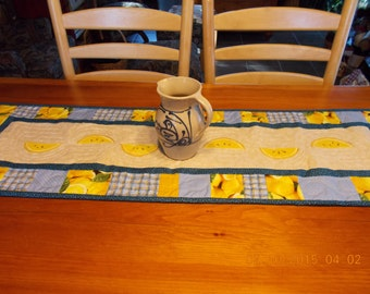 blue and yellow lemons,  handpainted, quilted, table runner
