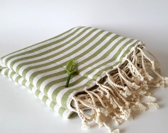 SALE 25% OFF Premium Turkish Towel: Peshtemal, Bath, Beach, Spa Towel, Mothers day gift, bridesmaid gift, Ecofriendly Natural Grass Green