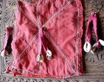 Banjara Indian mirror embroidery piece patch square & 2 tassles (C)