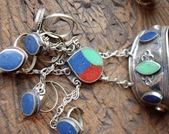 Tarnished Afghani lapis, cornelian and jade resin  hand piece five ring bracelet