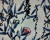 Bamboo and Chinese calligraphy, ivory, fat quarter, pure cotton fabric