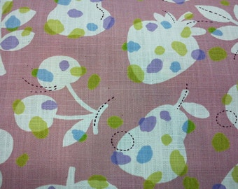 Flower leaf and fruit, pink, fat quarter, pure cotton fabric