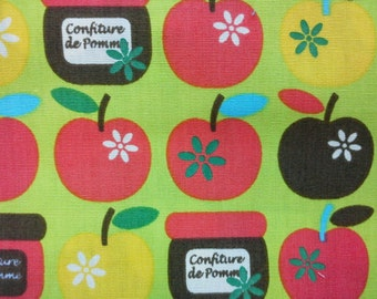 SALE - Apple and jar, yellow-green, fat quarter, pure cotton fabric