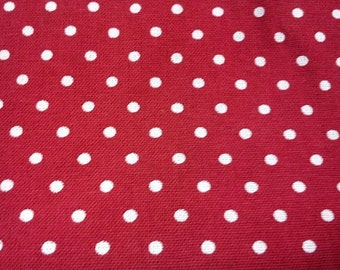 Ivory dots, dark red, fat quarter, pure cotton fabric