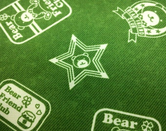 Bear friend club, green, fat quarter, pure cotton fabric