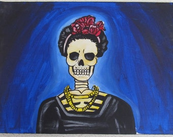 Mexican Canvas Art Original Acrylic Painting Frida Kahlo Folk Art Mexican Art Skull Day of the dead