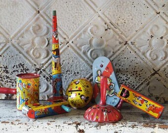 Vintage Toy Tin Metal Noise Makers Collection