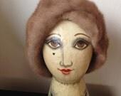 40s 50s Mink Turban Hat//Vintage Mink Hat//Winter Fur Accessory//Mid Century Vintage//Light Brown//Tan - S