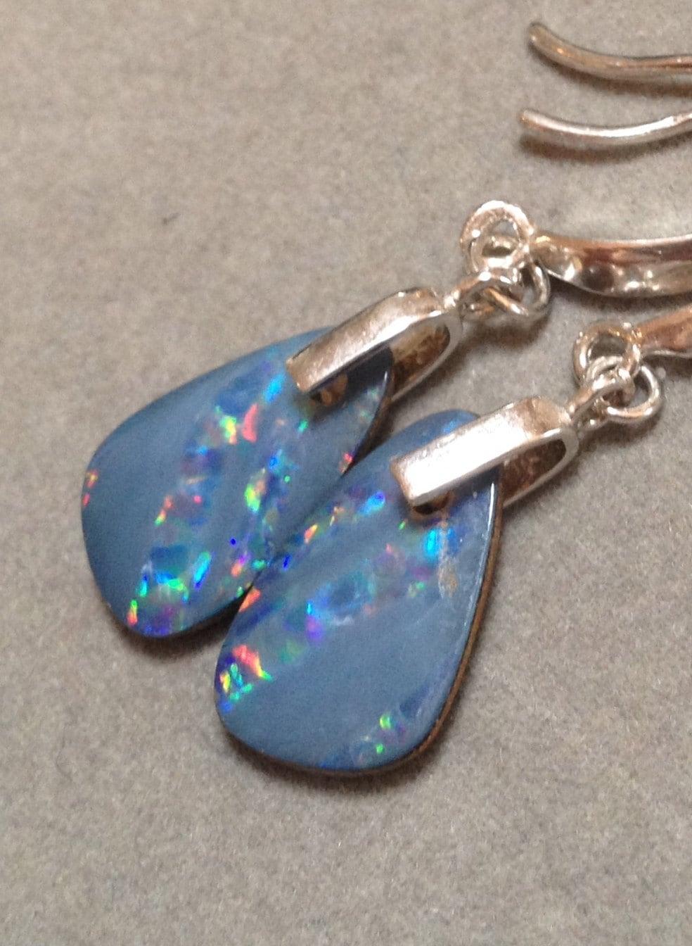 australian opal doublet earrings genuine opal silver