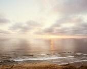 "Sunset Ocean Photography - neutral beach photo light brown coastal wall art cream beige print seashore photograph, ""Sunset on the Pacific"""