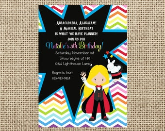 Magic Themed Party-Magician Invite-Girl-Chalkboard Invite-Printable-DIY-Casbury Lane