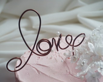 Rustic Wedding Cake Topper, Love, 5 Inches