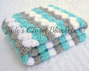 Crochet Baby Blanket, Baby Blanket, White, Grey, and Blue, travel stroller pram size