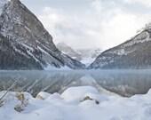 Lake Louise Photography Print 11x14 Fine Art Banff Canadian Rockies Snow Winter Mountain Landscape Photography Print.