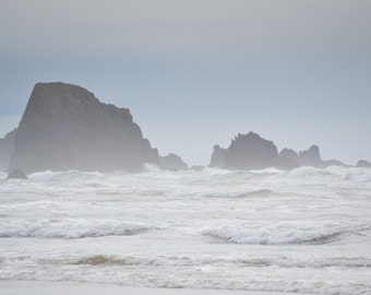 Ocean Photography Print 12x18 Fine Art Oregon Pacific Northwest Rocky Coast Storm Waves Beach Spring Landscape Photography Print.