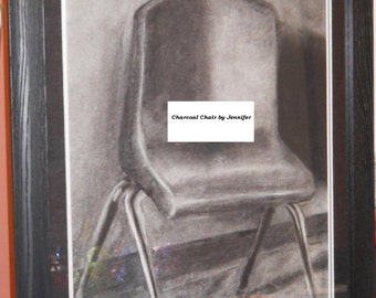 "Framed Charcoal drawing ""Chair"" Art"