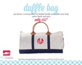 Monogrammed Canvas Duffle Bag - Two Colors Available