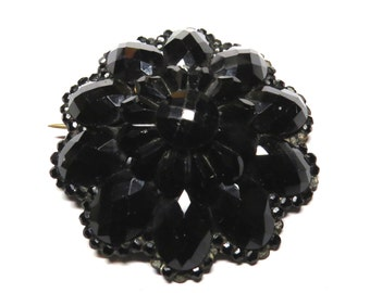 Vintage Victorian Mourning Faceted French Jet Pendant Brooch