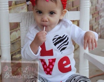 Baby Girl Valentine Outfit SET -- Little Diva Valentine -- Over the Top Bow, Leg Warmers and Zebra Love Bodysuit