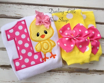 First Birthday Outfit -- The Birthday Chick --  hot pink and yellow bodysuit and leg warmers -- Chick theme