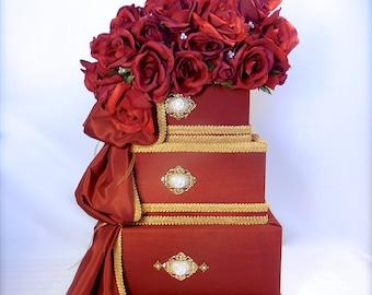 Wedding Card Box  Red and Gold Wedding Card Holder Wedding Card Box Secure Lock Wedding Card Box, Handmade Wedding Card Box