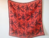 Vintage Vera Neumann Small Square Scarf Red Black Hunting Scene Pre Copyright Sheer Silk  Game Brids Dogs