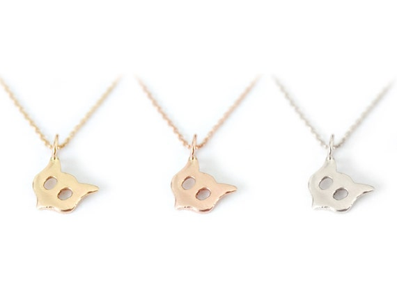 Little Owl- Solid 14K Gold Necklace Charm- Fox Charm- Cat Face