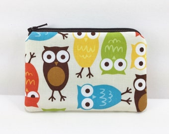Owls Coin Purse, Mini Wallet, Change Purse, Padded Pouch, Card Wallet, Zipper Pouch, Gift idea, Gift for her
