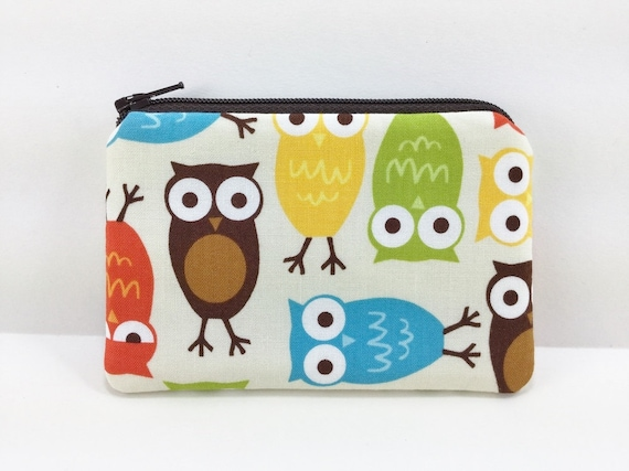 Owls Coin Purse, Small Zipper Pouch, Padded, Little Coin Pouch, Gadget Case, Card Wallet, Gift idea