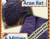 PDF Crochet Pattern Aran Hat and Mittens