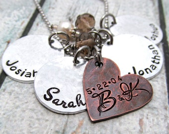 Personalized Necklace - Mixed Metal Cluster Necklace - Hand Stamped Jewelry for Mom - Personalized Mothers Necklace - Anniversary Gift (100)