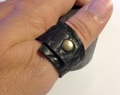 Black Leather Cuff Ring ,Wraped Around Soft Leather Jewelry