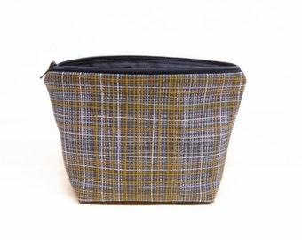 CLEARANCE blue gold crosshatch makeup bag, navy blue zipper pouch, blue plaid zipper bag, makeup pouch crosshatch navy gold