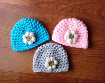 Flower and Coconut Button Beanie Baby Girl Crochet Hat and Photography Prop All Sizes from Newborn to Adult