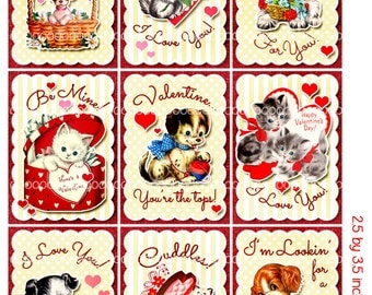 Digital Clipart, instant download, Valentines cards, tags for kids, puppy dog, kittens, cats, Digital Collage Sheet (8.5 by 11 inches) 1952