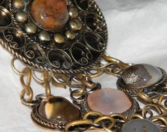 Vintage Metal Ornate Bead Brooch Pin - Large