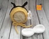 Newborn Photo Prop, Newborn Bumblebee Bonnet and Wings, Baby Bumblebee Hat, Crochet Bee Set, Baby Shower Gift, Newborn Bee Bonnet