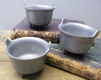 "Lot of 3 Vintage Wilton Columbia RWP Pewter Footed 4"" Urn Cauldron Kettle Crock Pot"