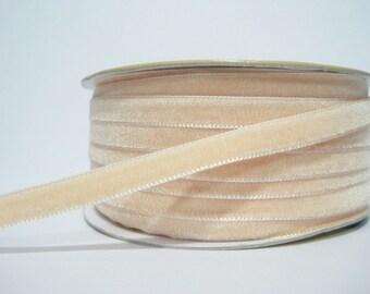 """5 yards 3/8"""" Vanilla Velvet Ribbon, Cream Velvet Ribbon, Ribbon, Ribbon lot, Wholesale Ribbon, Cream Velvet trim, Velvet ribbon"""