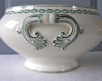 French Ironstone French Antique Tureen Empire Style Antique Planter Laurel Frieze Green Tea Stained