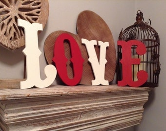 Hand-painted Wooden Letters - LOVE -  Wall Letters - Circus Font - 20cm high
