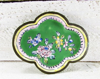 Antique Ring Holder Dish, Chinese Enamelware, Green Floral Flower Small Brass Trinket Dish, Antique Vanity Tray, 1920s Asian Art Home Decor