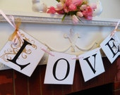 Wedding Decor - LOVE Banner- Blush and Gold Bridal Shower Decor- Sweetheart Table Banner- Engagement Photo Prop- Your Color Choice
