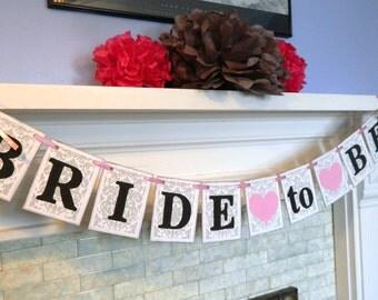 Bridal Shower decoration  / Damask Bridal Shower Decor / Bridal shower banner / Bride to Be banner/ You Pick the Colors