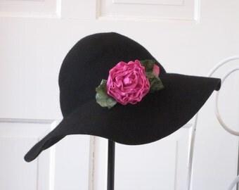 Black Wide Brim Floppy Hat, Removable Ribbon Rose Brooch, Hand Sewn Ribbon Rose with Vintage Velvet Leaves, Black Wool Hat, Bohemian Charm